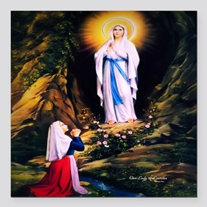 "Our Lady of Lourdes 1858 Square Car Magnet 3"" x 3"""
